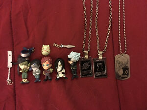Naruto figurine collectibles with necklaces
