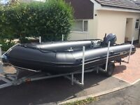 5.35m Excel HD inflatable boat and trailer