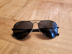 Rayban Polarized Aviators - Black Carbon Fibre Arm