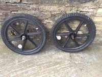Bmx 5 spoke alloys wheels with tyres