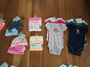 New! Carters 3 pack long or short sleeve onesies and 4pc hat set
