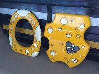 Kitsch 'cheese' toilet seat, fun cool kids cartoon statement design art 80s