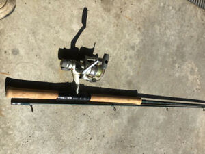 Quantum 10'6 noodle rod with a shimano reel.