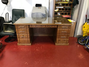 Custom office desk, chair and storage rolling files