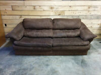 Chocolate Microfibre Couch - Delivery Available
