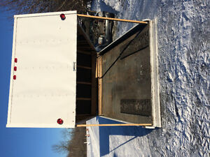 Double enclosed snowmobile trailer