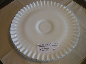 STUNNING VINTAGE MILK GLASS WEDDING CAKE SERVING PLATE ['60's]