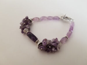 Handmade unique bracelets with natural amethyst.