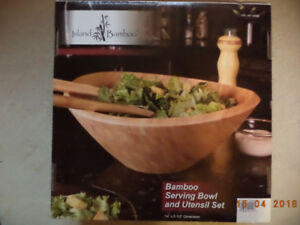 Bamboo serving bowl with untensils, new in the box
