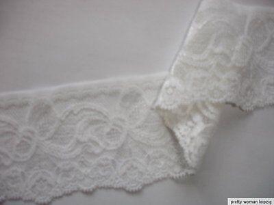 3 Lfm breite elastische Spitze 1,59€/m weiß 6,2cm breit TA60