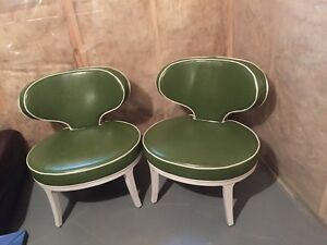 Green leather accent chairs