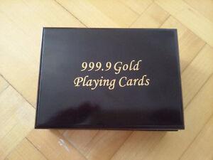 paquet de carte à jouer plaquée or 24 k avec certificat d'authen