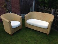 Wicker sofa and chair conservatory suite