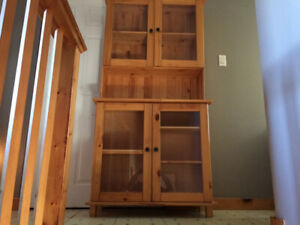 Real wood buffet and hutch