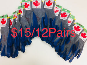 $15/12 Pairs Blue Rubber Latex Palm Pu Coated Work Gloves