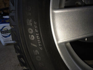 Factory Mitsubishi Lancer alloy wheels with Michelin snow tires Peterborough Peterborough Area image 4