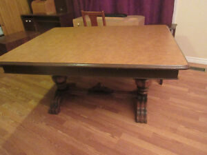 "SOLID HARDWOOD TABLE WITH TWO 10"" LEAVES - NO CHAIRS INCLUDED"