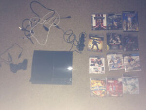 80gb PS3 with 1 controller, microphone, and 12 games.