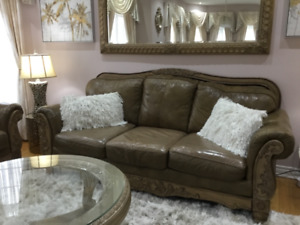Ashley real leather living room for sale