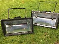 Two Large Halogen Heat Lights - outdoor.