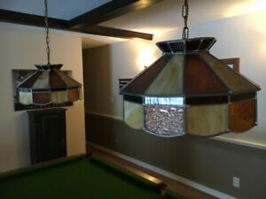Two Tiffany Style Pool Table Lights Stained Glass
