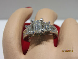 14KT White Gold Ladies Trinity Diamond Engagement Ring