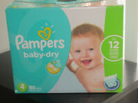 2 BRAND NEW BOXES OF SIZE 4 PAMPERS + FREE SIZE 5 HUGGIES