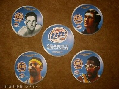 LA Lakers Beer Miller Lite coaster tribute Worthy Mikan Chamberlain Jerry West