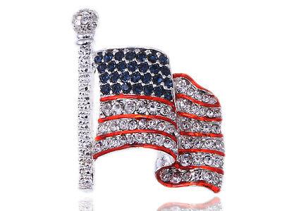 Genuine Crystal Rhinestone America USA Flag Fashion Costume Jewelry Pin Brooch](Usa Flag Costume)