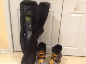 Mini skis with Rossignol boots