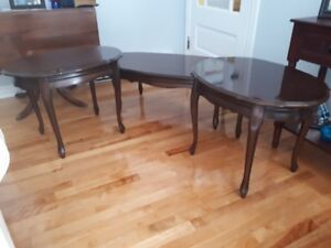 1 Coffee Table and 2 End Tables - French provincial style