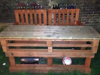 Handmade pallet benches and table