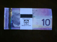 Uncirculated bankers brick of (100) $10 notes