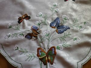 """**Embroidered Butterfly Tablecloth or Stand Cover** 32"""" x 32""""..."""