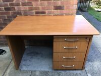 High quality office computer desk and 4 draw unit on casters