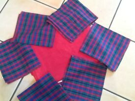 Red cotton table cloth & 6 checked napkins
