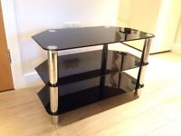 TV stand glass and steel