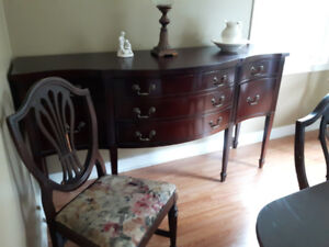 Dining room table, chairs and hutch for sale