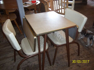 Apartment Size Chrome Table Set with Two Chairs