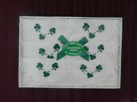Pure Irish Linen Embroidered Shamrock Cocktail Mats by Brownlow