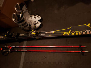 Salomon skis boots and poles