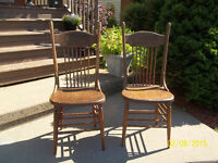 Vintage Hardwood Kitchen Table Chairs (2)