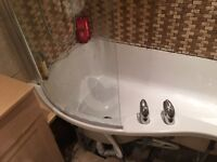 P Shaped Shower Bath - 1500mm length & Matching curved shower screen
