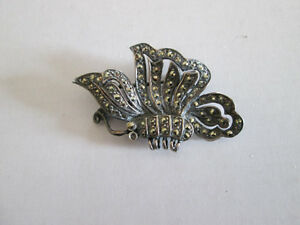 Sterling Silver and Marcasite Bufferly Pin Brooch