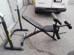 Apex Squat Rack Adjust Bench Preacher Leg Ext. Weights Bar