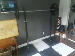 Squat rack + olympic bar + weights