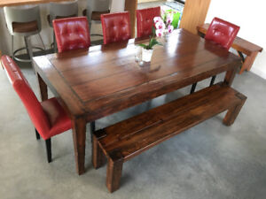 Dining set with bench and 5 chairs