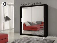 """30% OFF"" BERLIN FULL MIRROR SLIDING DOOR WARDROBE IN WHITE AND BLACK COLOUR"