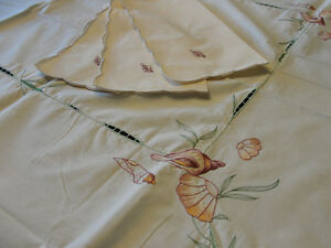 "NEW - Emroidered Dinning Tablecloth  (66"" X 50"") with 6 napkins"