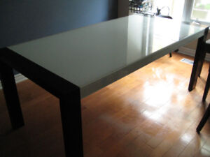 Large Structube modern glass dining table